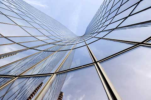 A glass office tower